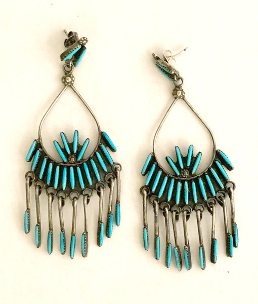 Old Pawn Jewelry - Earrings:  Zuni Silver & Turquoise Petite Point w/Turquoise Dancles border=