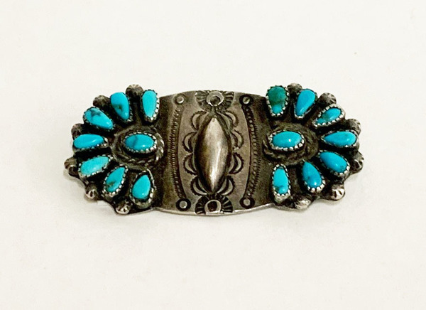 Old Pawn Jewelry - Pin:  Vintage Zuni Silver & Turquoise border=