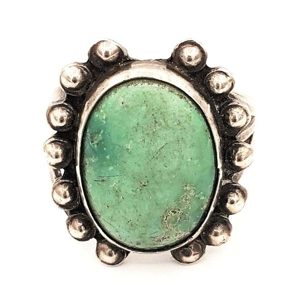 Old Pawn Jewelry - Ring: Vintage Navajo Green Turquoise border=