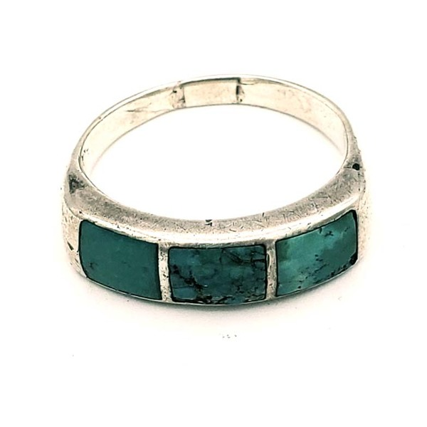 Old Pawn Jewelry - Ring: Vintage Zuni Channel Inlay Silver & Turquoise border=
