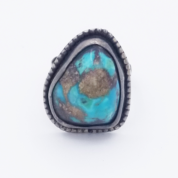 Old Pawn Jewelry - Ring: Navajo with Chunky Turquoise Stone border=