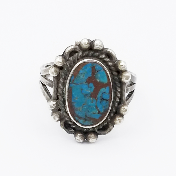 Old Pawn Jewelry - Ring: Deep Colored Navajo Turquoise with Bradied Silver border=