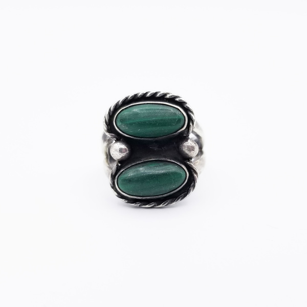 Old Pawn Jewelry - Ring: Navajo Malachite Ring border=