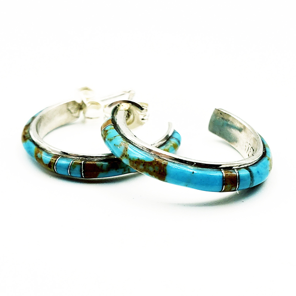 Old Pawn Jewelry - Earrings: Silver and Turquoise hoop border=