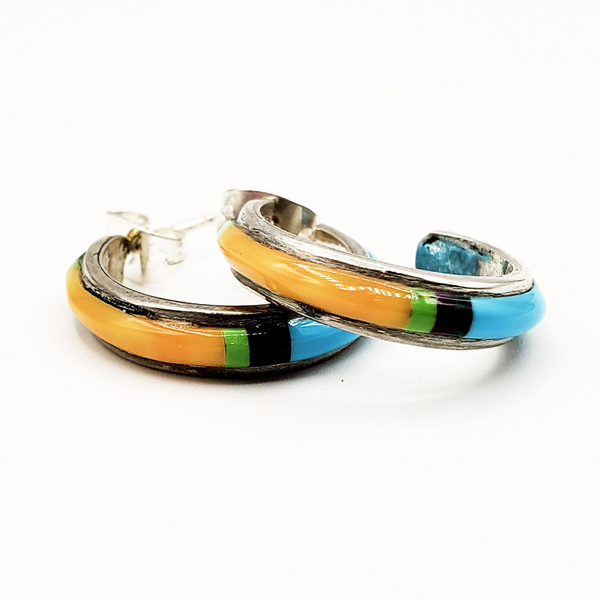 Old Pawn Jewelry - Earrings: Turquoise and Orange Stone hoop border=