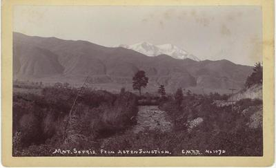 Title: Mt. Sopris from Aspen Junction , Date: 1890 , Size: 5 x 8 inches , Medium: Vintage Boudoir Card , Edition: Vintage