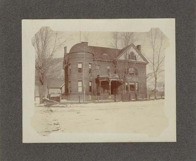 Title: The Old High School, Aspen , Date: 1905 , Size: 4 x 5 inches , Medium: Albumen Photograph , Edition: Vintage