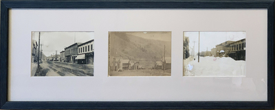 Title: Cooper Ave Street Scenes (Summer/winter) , Date: 1870-1880 , Size: Framed: 10 1/2 x 29 1/4 inches , Medium: Albumen Photograph , Edition: Vintage