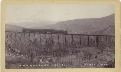 Title: Maroon Creek Bridge - Aspen, Colorado , Date: 1890 , Size: 5 x 8 inches , Medium: Vintage Boudoir Card , Edition: Vintage
