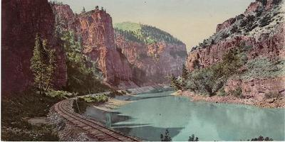 Title: Glenwood Canyon , Size: 3 1/2 x 7 inches , Medium: Vintage Chromolithograph , Edition: Vintage