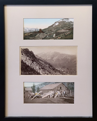 Title: Aspen Silver Mines, Castle Creek, Burrows , Size: Framed: 19 x 13 inches , Medium: Vintage Photochrome , Edition: Vintage