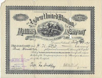 Title: Aspen United Mining Stock Certificate , Date: 1890 , Size: 9 x 11 inches , Medium: Vintage Photo Lithograph , Edition: Vintage