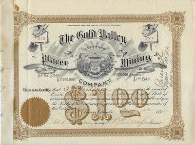 Title: The Gold Valley Placer Mining Stock Certificate , Date: 1898 , Size: 9 x 11 1/2 inches , Medium: Vintage Photo Lithograph , Edition: Vintage