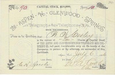 Title: Aspen and Glenwood Springs Telephone Co. Stock , Date: 1886 , Size: 5 1/2 x 8 1/2 inches , Medium: Vintage Photo Lithograph , Edition: Vintage