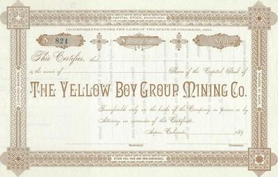 Title: The Yellow Boy Mining Group Stock Certificate , Date: 1890 , Size: 7 x 11 inches , Medium: Vintage Photo Lithograph , Edition: Vintage