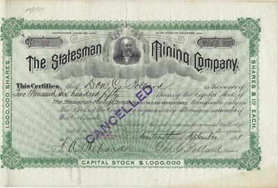 Title: The Statesman Mining Company Stock Certificate , Date: 1891 , Size: 7 x 11 inches , Medium: Vintage Photo Lithograph , Edition: Vintage