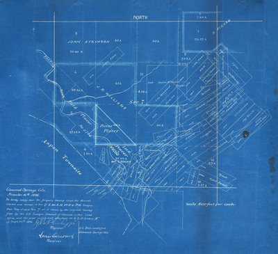 Title:      Mineral Claims and Survey Map , Date: 1896 , Size: 14 11/4 x 16 1/8 inches , Medium: Vintage Blueprint , Edition: Unique