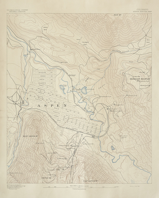 Title:      U.S. Geological Survey of Aspen by J.W. Powell , Date: Jan. 1893 , Size: 22 x 19 3/4 inches , Medium: Vintage Photolithograph , Edition: Vintage