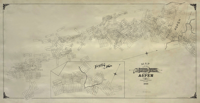 Title:       Map of the Mining Claims South of Aspen, Colorado , Date: 1888 , Size: 30 5/8 x 59 3/8 inches , Medium: Vintage Photolithograph