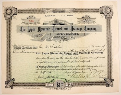 Title: Aspen Mountain Tunnel and Drainage Stock Certificate , Date: 1885 , Medium: Vintage Lithograph , Signed: Signed , Edition: Vintage