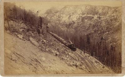 Title: Hell's Gate in Frying Pan Gulch, Colorado Midland Railroad , Date: 1890 , Size: 5 x 8 inches , Medium: Vintage Boudoir Card , Edition: Vintage