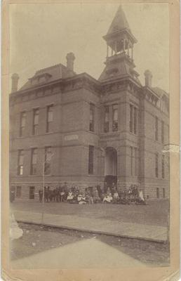 Title: Washington School at 500 Bleaker Street , Date: 1895 , Size: 8 x 5 inches , Medium: Vintage Boudoir Card , Edition: Vintage
