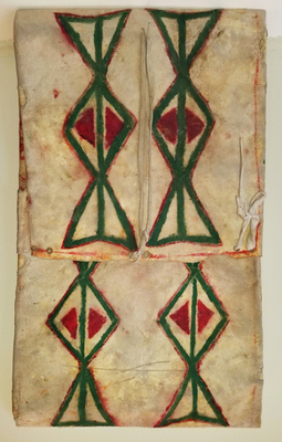 Title: Plateau Parfleche , Date: Early 20th Century , Size: 24 x 14 inches , Medium: Antique leather with Polychrome