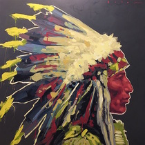 Title: Jack Red Cloud , Size: 40 x 40 inches , Medium: Acrylic on Board , Signed: Signed , Edition: Original