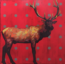 Title: Wapiti , Size: 31 x 31 inches , Medium: Acrylic on Board , Signed: Signed , Edition: Original
