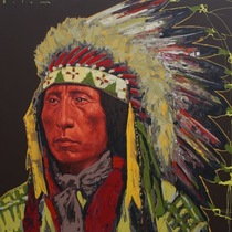 Title: Jack Red Cloud II , Size: 44 x 44 inches , Medium: Acrylic on Board , Edition: Original