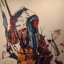 Title: War Bonnet , Date: 1986 , Size: 36 x 36 , Medium: Screenprint , Signed: L/L , Edition: TP 12/36