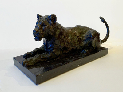 Title: Reclining Lioness , Size: 5 3/4 x 14 x 5 inches , Medium: Bronze , Signed: Signed , Edition: 7/10