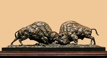 Title: Rivalry (Bison) , Size: 10 3/4 x 35 x 7 inches , Medium: Bronze , Signed: Signed , Edition: of 35