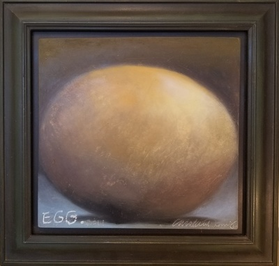 Title: Egg , Size: 12 x 12 1/2 inches , Medium: Oil Crayon on Panel , Signed: L/R