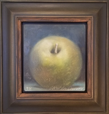 Title: Apple , Size: 6 x 5 1/2 inches , Medium: Oil Crayon on Panel , Signed: L/R