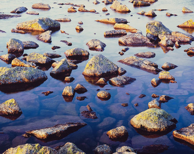 Title: Serene Lake Stones, Newfoundland , Size: 30 x 40 inches , Medium: Cibachrome Photograph