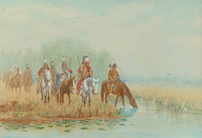Title: Untitled Northern Plains Group , Date: 1898 , Size: 13 1/2 x 19 5/8 inches , Medium: Watercolor & Oil