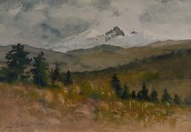 Title: Longs Peak, Estes Park , Date: 1915 , Size: 5 7/8 x 7 7/8 inches , Medium: Watercolor , Signed: L/L , Edition: Original