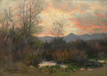 Title: Untitled (Pink Sunset, River Bottom) , Date: ca. 1898 , Size: 10 x 14 inches , Medium: Oil on Canvas , Signed: L/L