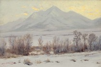 Title: Mt. Princeton after Snow , Date: ca. 1910 , Size: 10 x 15 inches , Medium: Oil on canvas , Signed: L/L