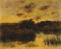 Title: Yellow Sunset , Date: ca. 1893 , Size: 8 x 10 inches , Medium: Oil on Board , Signed: L/L