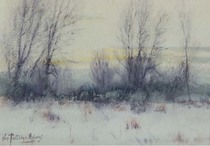 Title: Untitled Winter Scene , Size: 7 x 5 inches , Medium: Watercolor , Signed: Signed , Edition: original