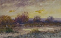 Title: Sunset , Date: c. 1900 , Size: 5 1/2 x 8 1/2 inches , Medium: Watercolor , Signed: Signed , Edition: Original
