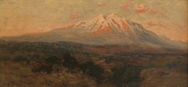 Title: Mount Sopris, Early Morning, from Glenwood Springs , Date: c. 1890 , Size: 7 x 13 inches , Medium: Oil on Panel , Signed: L/R