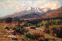 Title: Sangre de Cristo Range , Date: 1899 , Size: 10 x 15 inches , Medium: Oil on Canvas , Signed: L/L