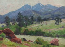 Title: Pines and Boulders , Size: 9 3/4 x 13 1/2 inches , Medium: Oil on Board , Signed: L/L