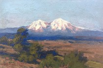 Title: Untitled (Spanish Peaks, from near Walsenburg Colorado) , Date: c. 1897 , Size: 6 x 9 inches , Medium: Oil on Panel , Signed: L/L