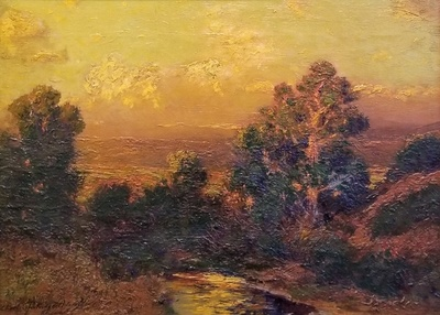 Title:      Sunset Glow, Vermejo Creek , Date: c. 1900 , Size: 12 x 16 inches , Medium: Oil on Canvas , Signed: L/R , Edition: Original