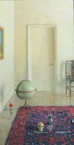 Title: Globe and Skull , Date: 1994 , Size: 24 x 12 inches , Medium: Oil on Panel , Signed: Signed