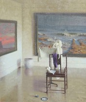 Title: Interior , Date: 1994 , Size: 28 x 24 inches , Medium: Oil on Panel , Signed: L/L